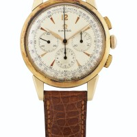 205. 歐米茄(omega)   粉紅金計時腕錶,為南美市場製造,年份約1950。
