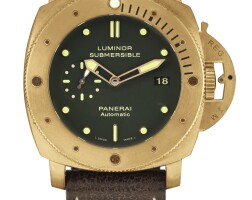 135. panerai   luminor submersible 1950, reference pam00382 a limited edition brozne wristwatch with date, circa 2011