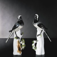 9. a pair of meissen figures of pied wagtails circa 1740