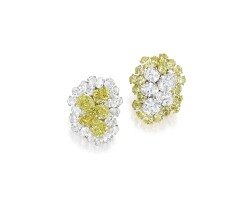 47. pair of fancy colored diamond, colored diamond and diamond earclips