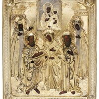 585. a parcel-gilt icon of saint symeon holding the christ child and saint anna, st john the evangelist and the monastic saints peter and fedronia, kuzmichev, moscow, 1882