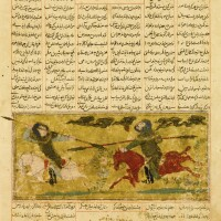 71. an illustrated and illuminated leaf from a manuscript of firdausi's shahnameh (the second small shahnameh): the combat of bizhan and ruyin, persia or baghdad, ilkhanid, circa 1300