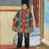 252. a portrait of prince sultan husayn mirza jalal al-sawla, signed by mubarak ibn mahmud al-qajar (grandson of fath 'ali shah qajar), persia, circa 1880