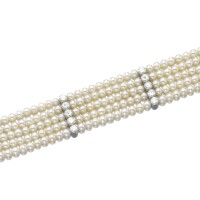 478. natural pearl and diamond bracelet, cartier, 1920s