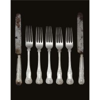 9. a set of royal german silver knives and forks, made by a member of the matthias family, hanover, circa 1860