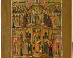 558. pokrov of the mother of god, russian, oldbelievers workshop, late 19th century |
