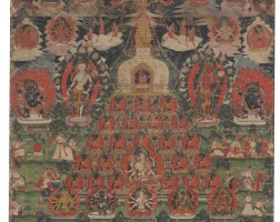 902. a paubha depicting lakshachaitya nepal, dated by inscription to 1822 |
