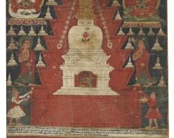 905. a paubha depicting lakshachaitya nepal, dated by inscription to 1644 |