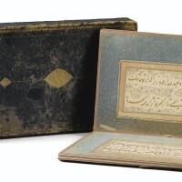 15. exceptionnel album de douze pagescalligraphiées à l'or en découpage (qatta'i), par mir 'ali al-harawi (al-katib al-sultani) et sangi 'ali badakhshi, iran, art safavide, première moitié du xvième siècle