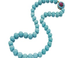 1608. 綠松石配紅寶石及鑽石項鏈, 寶格麗(bulgari)