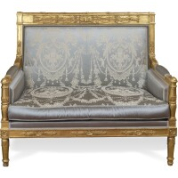 74. an empire style carved giltwood and damask upholstered suite of seat furniture