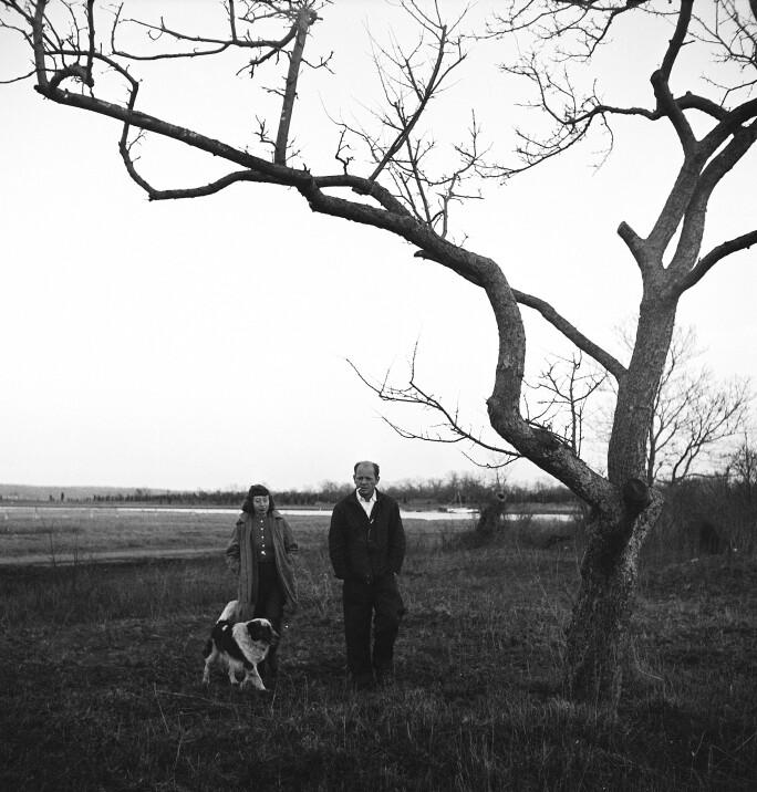 Jason Pollock and Lee Krasner walking outside on Long Island with their dog.