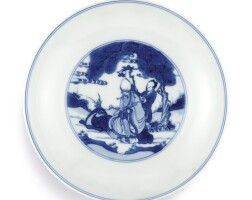 3644. a fine blue and white 'eight immortals' dish mark and period of kangxi |