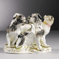 213. a meissen group of two spaniels and a pug dog circa 1750-55