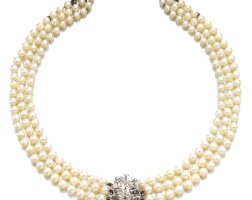 44. cultured pearl and diamond necklace