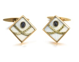 322. a pair of jewelled gold and enamel cufflinks, andrei adler, st petersburg, 1908-1917