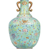3609. a fine and rare large turquoise-ground 'bajixiang' cloisonne-imitation vase seal mark and period of qianlong