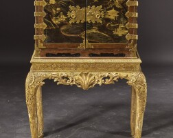 506. a japanese export lacquer cabinet on a george i style gilt gesso stand, the cabinet edo period, 18th century; the stand 19th century |