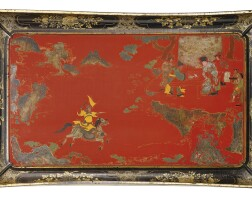 19. a gilt and painted lacquer tray wanli mark and period, dated 1615