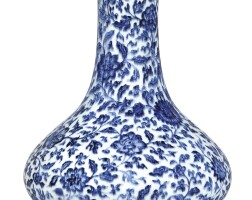 3312. a rare blue and white 'floral' bottle vase mark and period of yongzheng |