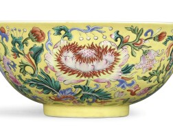 3618. a fine and rare yellow-ground famille-rose 'floral' bowl mark and period of qianlong |