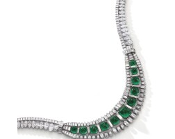 448. magnificent and highly important emerald and diamond necklace, circa 1935