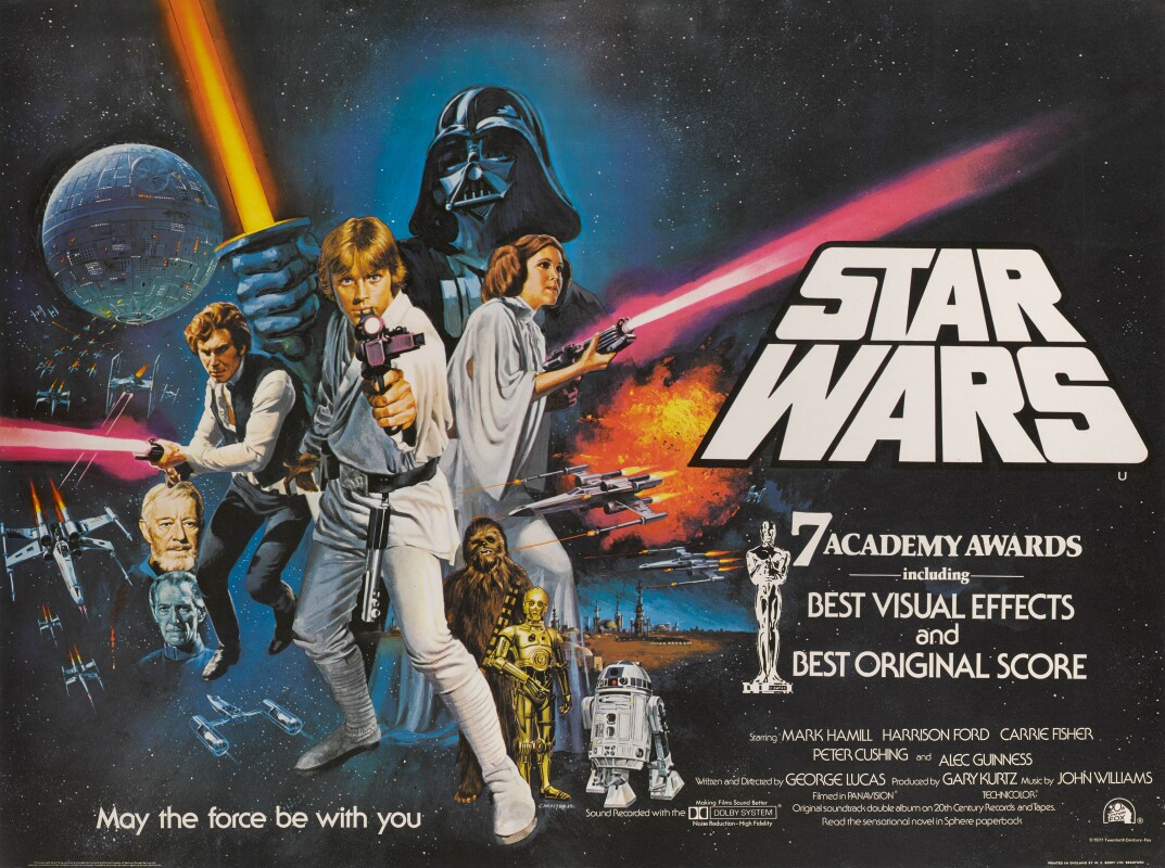 STAR WARS , BRITISH RELEASE POSTER WITH AMERICAN STYLE C DESIGN, TOM WILLIAM CHANTRELL, 1977. ESTIMATE £3,000–5,000.