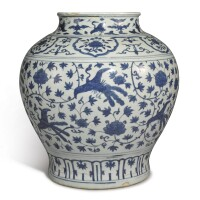 521. a blue and white 'peony and peacock' jar ming dynasty, jiajing period  
