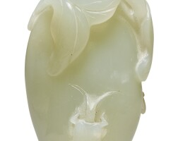 1213. a pale celadon jade 'melon and insect' carving qing dynasty, 18th century |