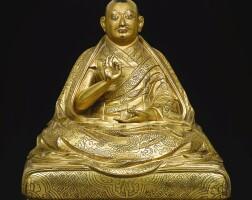 161. a gilt-bronze figure depicting ngawang lobsang gyatso,dalai lama v central tibet, 17th century