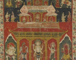 904. a paubha depicting a vaishnavite temple nepal,dated by inscription to 1821 |