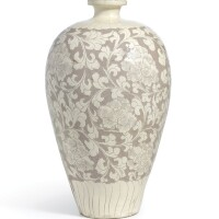 13. an outstanding large cizhou white-glazed sgraffiato'peony' meiping northern song dynasty