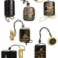 135. ensemble de 6 inro japon, xviiie-xixe siècle