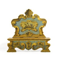 15. an italian baroque lacca povera and polychrome-decorated bench 18th century and later