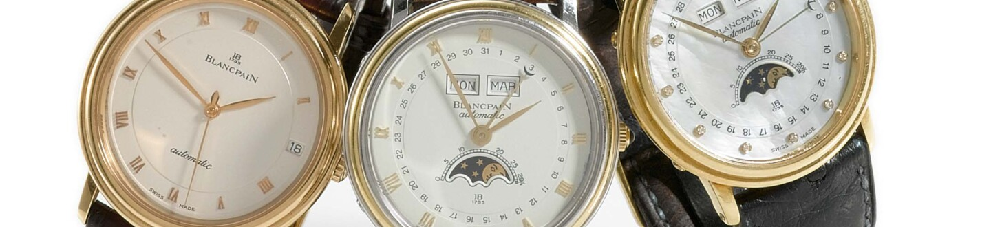 A pink gold automatic sweep seconds Blancpain wristwatch in an auction selling luxury watches
