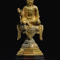 323. 唐 銅鎏金佛坐像  