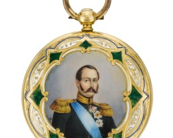 42. des fruy, genève   a goldand enamel hunting cased lever watch the coverswith polychrome enamel painted portrait miniatures circa 1860, no.28093