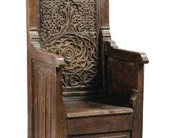 38. a neo-gothic carved oak and chestnut 'chaire', 19th century |