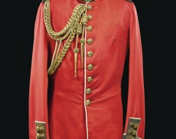 80. the duke of cambridge's scarlet and blue full-dress tunic of a colonel, grenadier guards   with a crimson silk shoulder sash, a gold round-cord aiguillette and a pair of white kid gloves, all late 19th century, comprising: