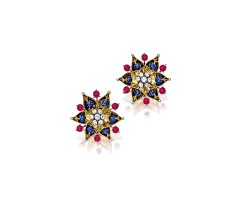 1603. pair of ruby, sapphire and diamond earclips, cartier, circa 1940