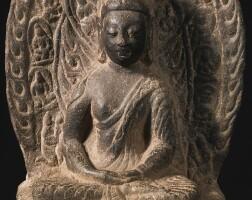 423. a limestone seated buddha china, northern wei dynasty
