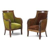 281. a pair of mahagony bergères empire, first quarter 19th century