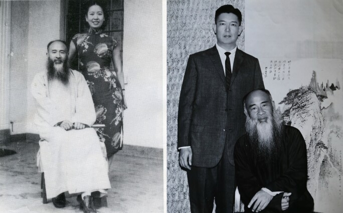 Black-and-white photographs of Tang Hung and Zhang Daqian, Fung Bi-Che and Zhang Daqian