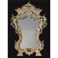 11. a fine and rare italian carved and polychrome painted mirror genoese, mid 18th century