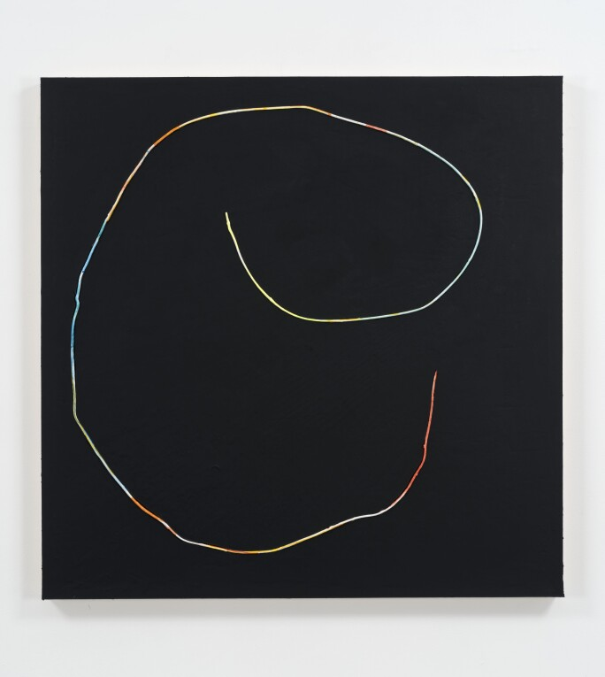 black painting with multicolored line in a circular shape