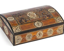 25. a tortoiseshell, ivory, mother-of-pearl marquetry, kingwood, rio rosewood and partridge woodcasket, second half of 17th century  
