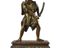 475. bronze inlaid figure of a samurai meiji period, 19th century | bronze inlaid figure of a samurai