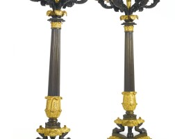 28. a pair of charles x ormolu and patinated bronze candelabra, now mounted as lamps circa 1830