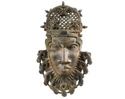 29. masque de ceinture en laiton, edo, royaume de benin, nigeria