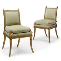 1. a pair of directoire parcel-gilt and polychrome-painted chairs circa 1790, possibly italian